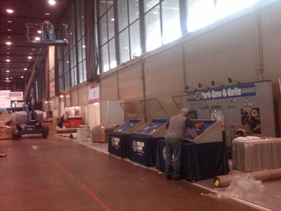 Beyond our booth, the whole floor is really beginning to shape up..