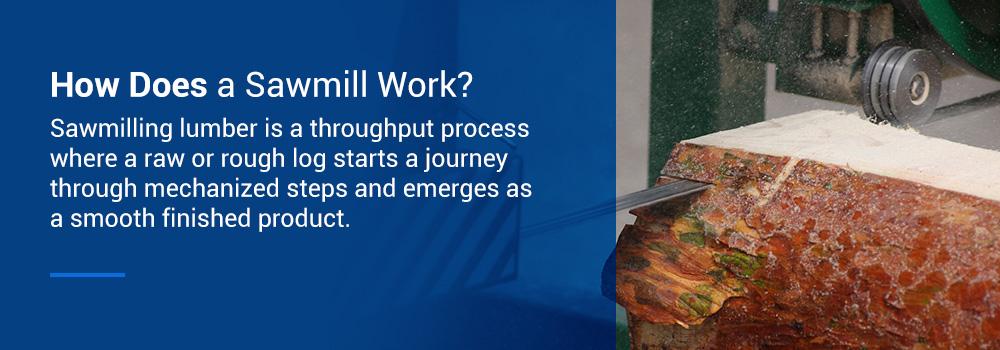 sawmill cutting a log