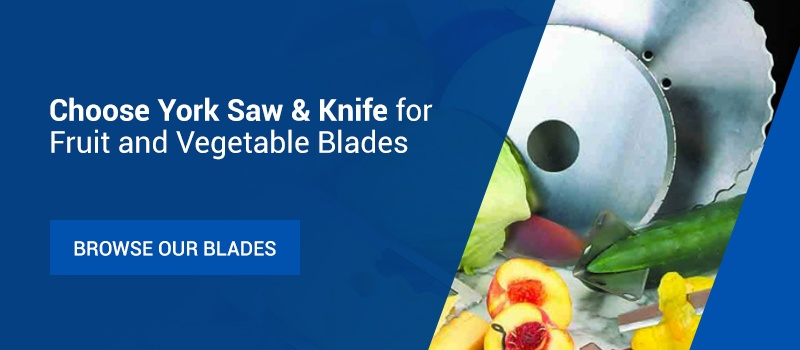 Circular blades and fruits and vegetables
